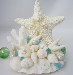 Beach Wedding Starfish Cake Topper - Wedding Cake Topper w Lg. White Starfish, Shells. Optional Pearls & Sea Glass. $59.00, via Etsy.