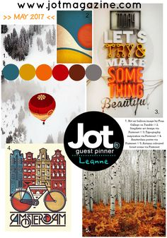 """Introducing another delectable Mood Board – this time Jot Girl Leanne Allinson has pulled our board together. Just take a look at those rich, warm colours – teal, mustard, orange, scarlet and grey. Let's take a look at what the Jot Girls have come up with this month. Leanne Allinson Leanne says, """"The circles that have been penciled in and hand stitched link back to"""