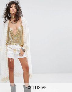 82b61023e9 Maxi Hooded Kimono with Gold Print from ASOS! Kimono Duster