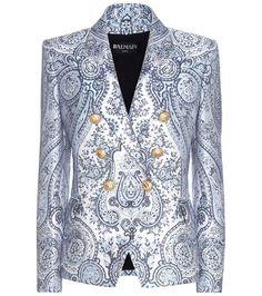 Buy it now. Jacquard Blazer. Blue Jacquard Blazer By Balmain , americana, americana, blazer, levita, levita, americanas, americanabásica, blezer, blazerdepunto, frock-coat. Navy Balmain  blazer  for woman.