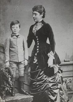 Sir Winston Churchill is pictured posing alongside his Aunt Leslie aged just six in 1880.