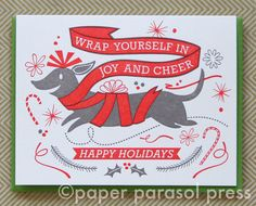 Joy and Cheer Happy Holidays Dachshund by paperparasolpress