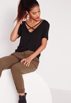 Missguided - V-Neck Cross Strap Front T-Shirt Black