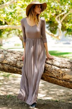 3/4 Sleeve Maxi Dress Mocha Made with love in the USA