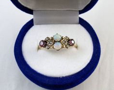 Antique Edwardian rose gold amethyst opal seed pearl ring