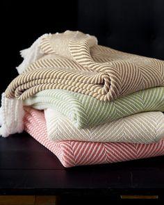 Cotton Herringbone Throw in Peridot | Garnett Hill