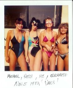 Couldn't believe it when I saw this. I had the one-piece OP swim suit (first girl on the left). I bought it at Mass Brothers at University Mall. Never thought I would see another one.  Valley Girls may have had them, but Florida girls did it, too!  Quintessential early-80s swimsuits in Valley Girl.