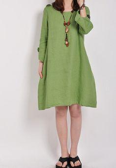 women summer linen dress babydoll half sleeve dress by MaLieb, $76.00