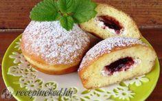 Túrós-lekváros töltött fánk recept fotóval Bagel, Doughnut, Donuts, French Toast, Bread, Cookies, Breakfast, Food, Pizza