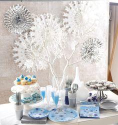 Snowflakes all around... Frosty holiday decor.  #snowflakes #hangingdecor #christmasdecor