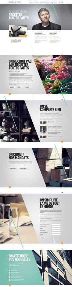 Acolytes by Alexandre Desjardins, via Behance - really like it how the diagonals are carried throughout the site