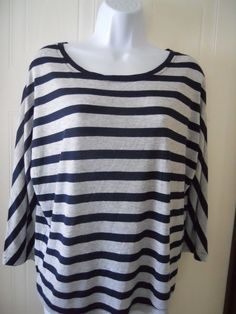 "Ann Taylor Loft Women's Size M Rounded Neck Top Navy & Gray Striped 3/4"" Sleeves #AnnTaylorLOFT #KnitTop #Casual"