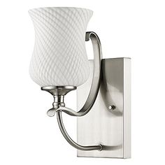 Evelyn Satin Nickel  Glass Shade Wall Sconce Bathroom Vanity Light Lamp 5Wx11H -- Find similar products by clicking the image