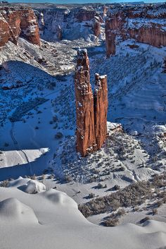Spider Rock snow, via Flickr.