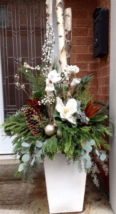 Amazing Front Porch Christmas Decorating Ideas, Winter pots, Christmas Decor Outdoor,Christmas Outdoor Container, Source by Outdoor Christmas Planters, Christmas Urns, Christmas Flowers, Outdoor Christmas Decorations, Christmas Lights, Christmas Holidays, Christmas Wreaths, Christmas Crafts, Fall Planters