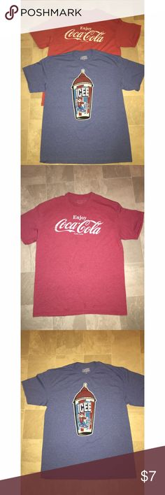 Lot of Men's T-Shirts Icee and Coca Cola Sz L Listing is for 2 men's t-shirts. Both size Large. Coca-Cola t-shirt has a few small stains on the front (see photo). Icee shirt. Great price for 2 shirts! Please ask any and all questions prior to purchase. Shirts Tees - Short Sleeve