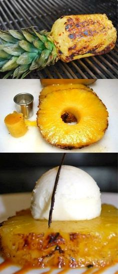 #GrilledPineappleIceCreamDessert