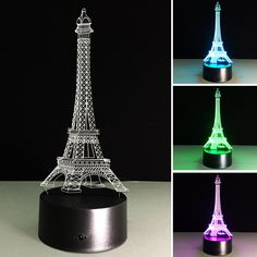 Led Lamps Cross Border For 3d Night Lamp Eiffel Tower Bedside 3d Lamp Diy Birthday Creative Christmas Decorations Gift For Baby Room Light Numerous In Variety Led Night Lights