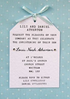 Boy Christening, Naming Ceremony Invitation - Elegant, Simple, Tag Style, Ribbon…