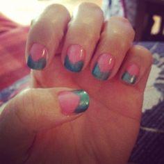 Green & Pink Shellac V shaped