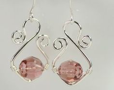 Dusty Rose Swarovski Crystal Earrings Wire Wrapped Jewelry Handmade Sterling Silver Jewelry Handmade Swarovski Crystal Jewelry Pink Earrings #handmadejewelry #handmadesilverjewelry
