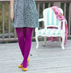 Magenta tights paired with bold yellow heels. @Miranda Jones Shoes