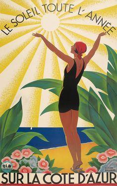 Le Soleil Toute L'Annee Sur La Cote D'Azur  (1920-1930) Roger Broders for Paris Lyon Mediteranee rail