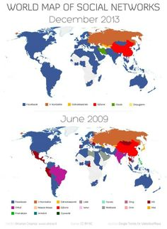 2013 World Map of Social Networks. Facebook is dominant in the Americas and Europe. V Kontakte is the main social network used in Russia and QZone is the most used in China #social network