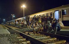 Decenas de inmigrantes esperan en las vías del tren junto a la frontera Croata.