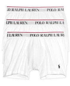 Polo Ralph Lauren Men's Cotton Stretch 3 Pack Boxer Briefs. - White XL