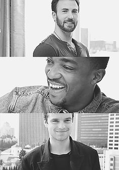 Chris Evans | Anthony Mackie | Sebastian Stan I wish the three of them would get a TV show and they all live together.