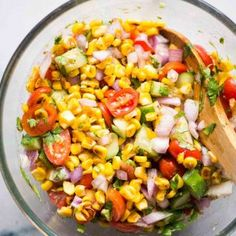 Sweet Corn Salad Recipe, Corn Salad Recipes, Summer Salad Recipes, Corn Salads, Healthy Salad Recipes, Veggie Recipes, Dinner Recipes, Summer Corn Salad, Summer Salads