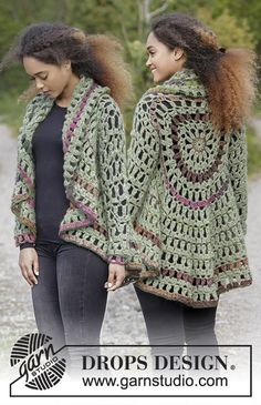 Crochet circle jacket with stripes. Sizes S - XXXL. The piece is worked in DROPS Air and DROPS Big Delight. Free pattern by DROPS Design.