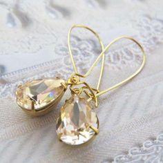 Champagne Earrings Bridal Earrings Estate Style by CRystalCRush, $22.00