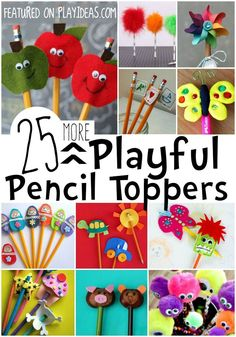 25 More DIY Pencil Toppers for Kids. With testing coming up, kids need something to make school more fun. These pencil toppers will help! Diy Projects For Kids, Crafts For Kids To Make, Easy Crafts, Diy And Crafts, Kids Diy, Pencil Topper Crafts, Pencil Crafts, Market Day Ideas, Pen Toppers