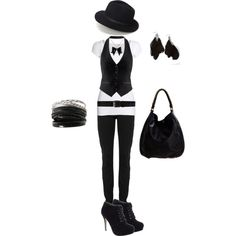 """black 'n' white"" by theyesse on Polyvore"