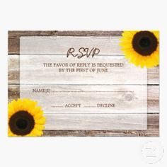 Sunflower Barn Wood Country Wedding RSVP Invitations