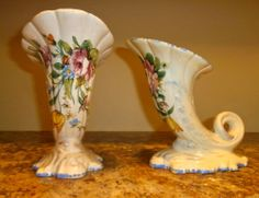 VINTAGE PAIR OF OVINGTON'S NEW YORK ITALY FLORAL CORNUCOPIA VASE http://r.ebay.com/lc9WfD