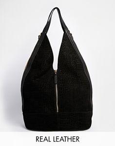 ASOS – Legere Hobo-Tasche aus Leder und Wildleder mit Reißverschluss Asos 1ccf00d637b01