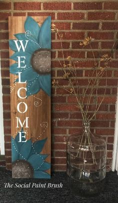 Welcome Signs Front Door, Wooden Welcome Signs, Diy Wood Signs, Front Porch Signs, Outdoor Wood Signs, Outdoor Welcome Sign, Home Crafts, Diy Crafts, Pallet Crafts