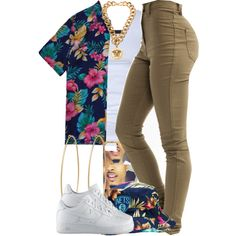 A fashion look from July 2014 featuring Tusnelda Bloch tops, NIKE shoes and Versace necklaces. Browse and shop related looks.