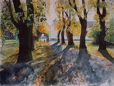 Herbst auf Rügen und ein Aquarell vom Jagdschloss Granitz | Kastanien Allee (c) Aquarell von Frank Koebsch