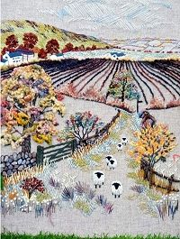 Hilltop Farm Embroidery Kit - Rowandean Embroidery I like the perspective that has been created. Crewel Embroidery Kits, Learn Embroidery, Silk Ribbon Embroidery, Cross Stitch Embroidery, Embroidery Patterns, Textiles, Embroidery Techniques, Fabric Art, Needlework