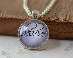 Believe Necklace, Word Jewelry, Inspirational Charm, Lavender Purple Pendant, Your Choice of Finish (1314)