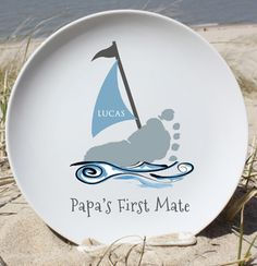 Boat Plate. Handprint and footprint art for baby and kids. Send us your prints and we do the rest! Great gifts for moms and dads, grandparents, holidays and special occasions!