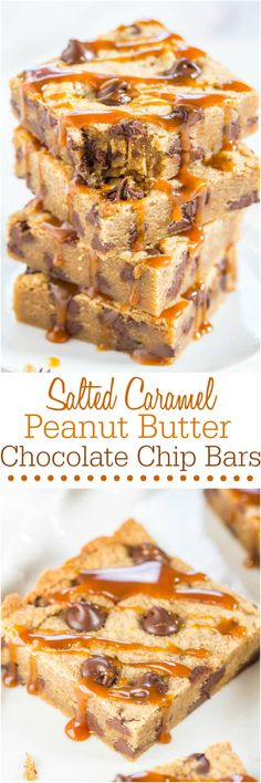 Salted Caramel Peanut Butter Chocolate Chip Bars - Made with salted caramel PB (yes it's a thing!) Soft, chewy, gooey and so irresistible!!!