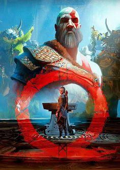God of war art. Kratos God Of War, Jobs In Art, 4 Wallpaper, Wallpaper Awesome, Gaming Wallpapers, Fan Art, Norse Mythology, Video Game Art, Animation