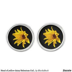 Shop Head of yellow daisy Helenium Cufflinks created by Personalize it with photos & text or purchase as is!