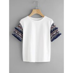 SheIn(sheinside) Coin Fringe Trim Embroidered Jacquard Sleeve Tee (€13) ❤ liked on Polyvore featuring tops, t-shirts, shirts, white, summer t shirts, white tee, embellished t shirts, embroidered shirts and embroidery t shirts