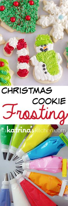 Christmas Cookie Frosting bestkitchenequipm… Best Sugar Cookie Frosting Recipe- perfect for Christmas Cookies Christmas Sugar Cookies, Christmas Sweets, Christmas Cooking, Holiday Cookies, Holiday Baking, Christmas Desserts, Christmas Holidays, Christmas Goodies, Christmas Candy